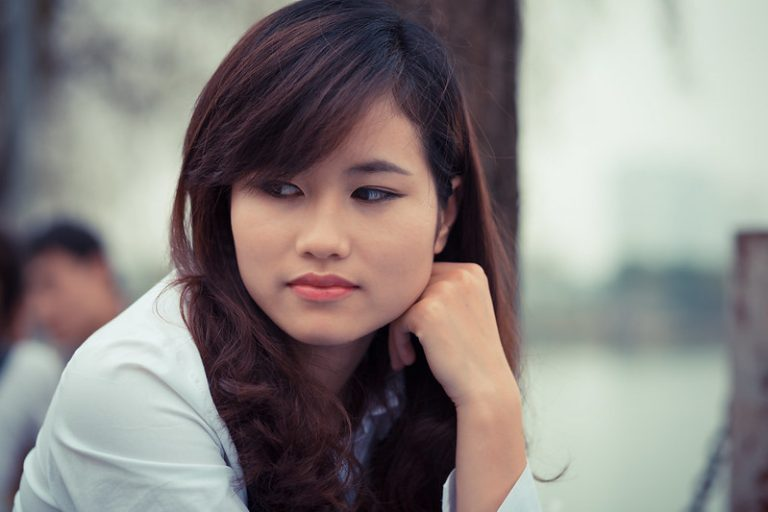 vietnamese girl thinking