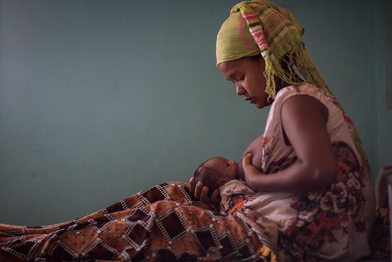 Somali mother breast feeding infant