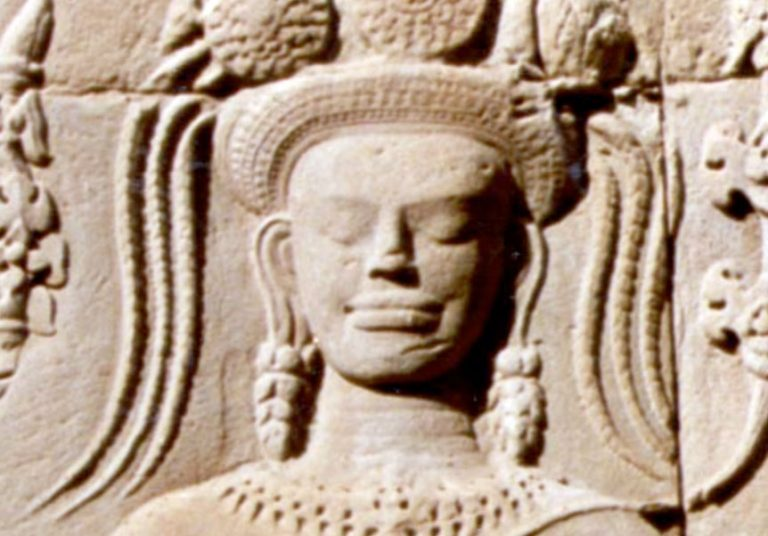cambodian stone carving of woman