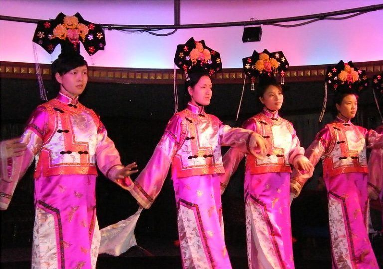 Chinese women in pink