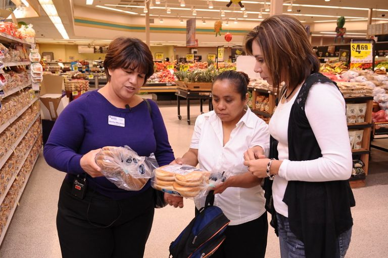 Nutrition education in grocery store.