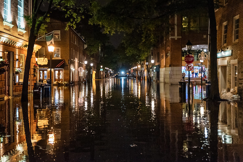 flooded city at night