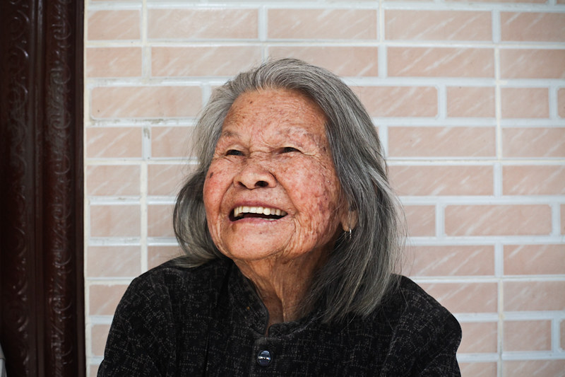 laughing chinese grandma