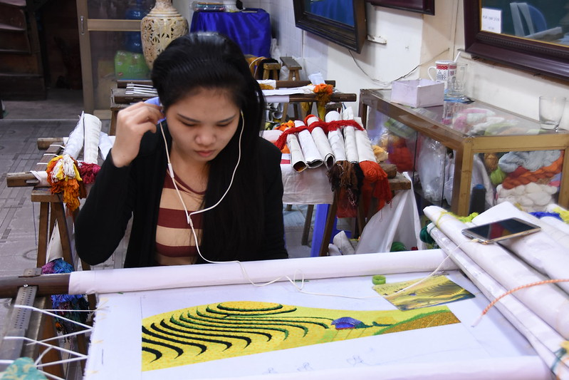 vietnamese woman embroidering