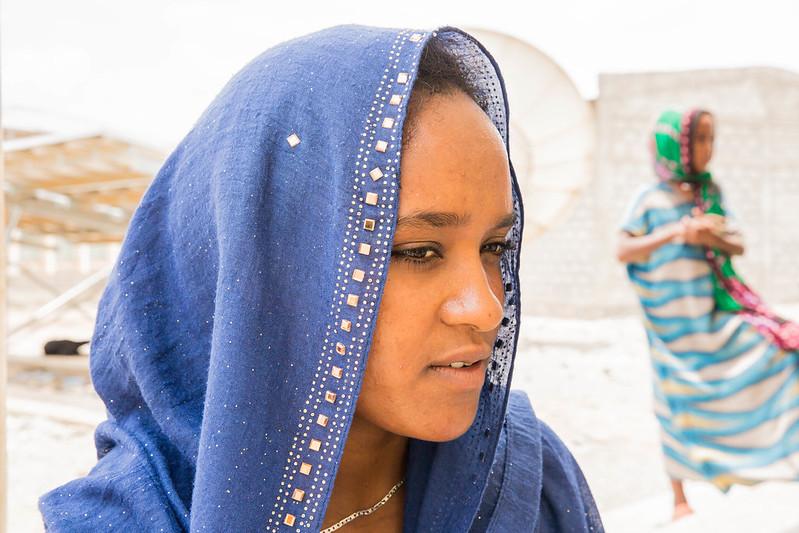 Woman wearing a head scarf
