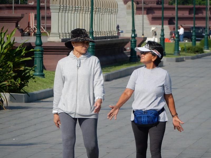 Cambodian women walking