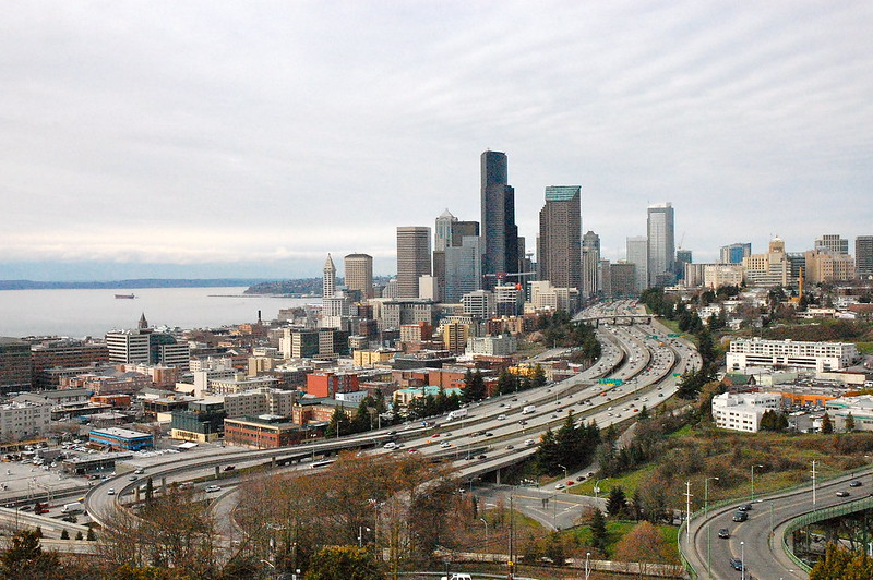 aerial view of seattle freeway