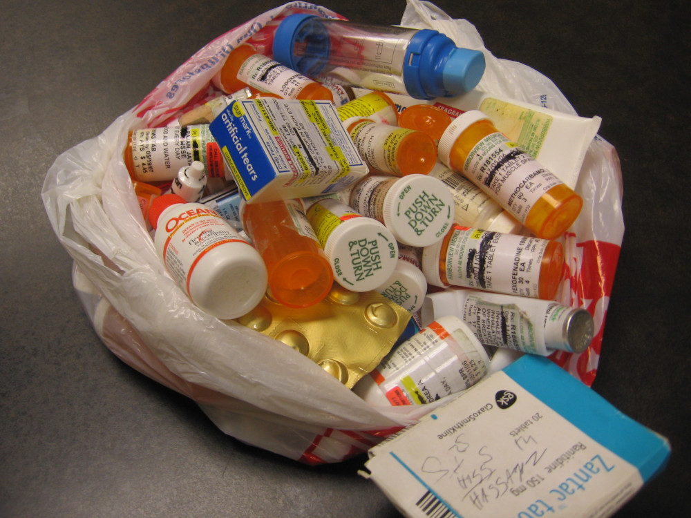 bag of expired prescription bottles