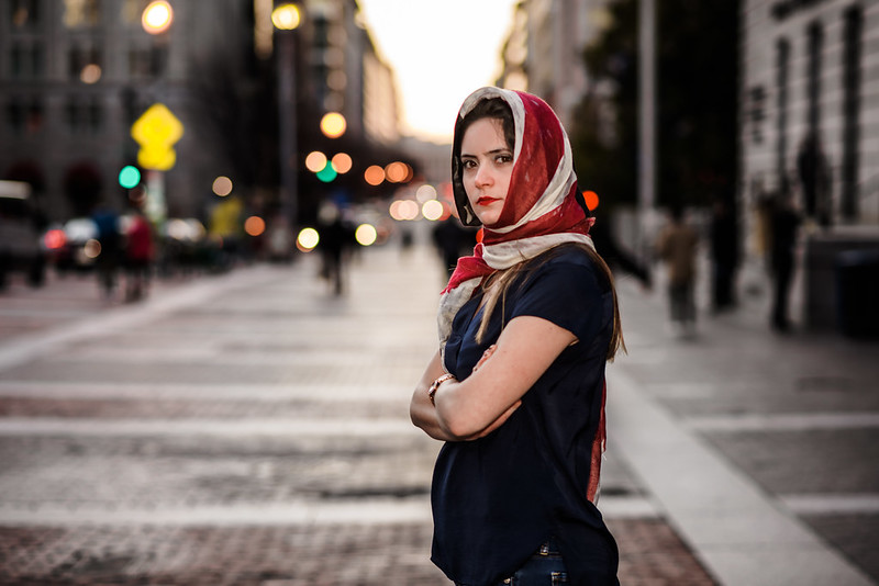 girl with headscarf in the city