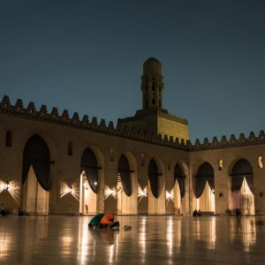 Muslims praying at Hakeem Mosque in Cairo, Egypt