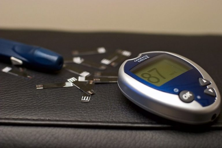 Blood glucose meter and testing strips.
