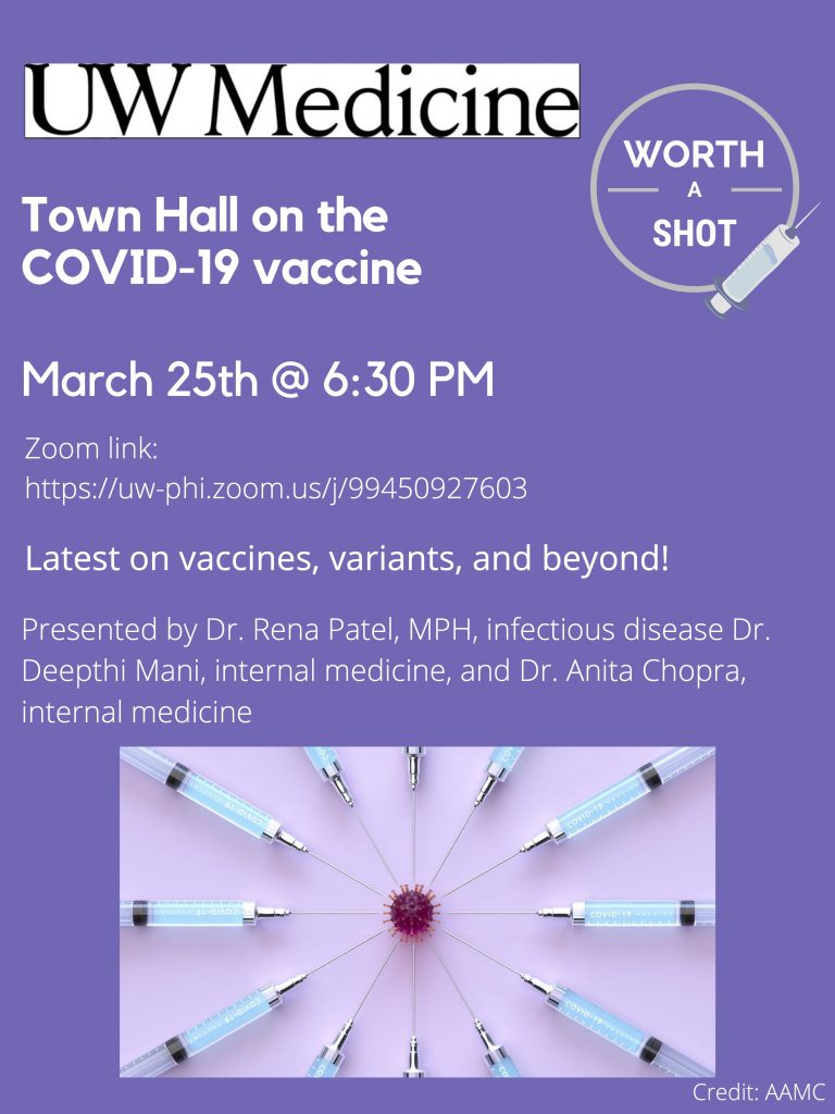 Worth a Shot Vaccine Town Hall Flyer