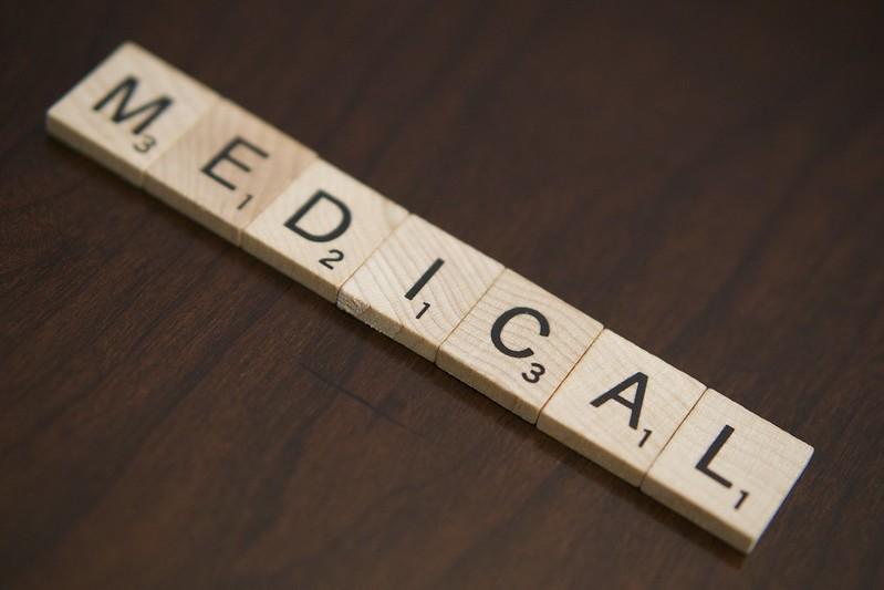 Medical spelled in scrabble letters