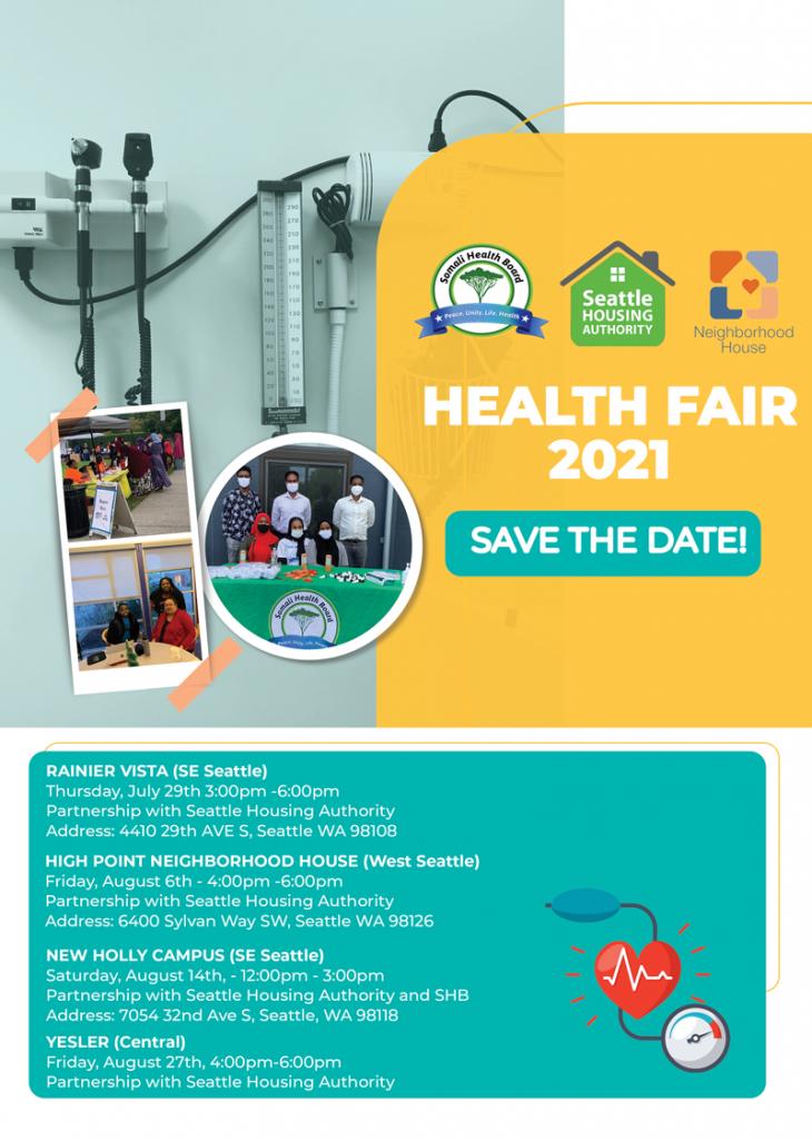 Flyer for 2021 Somali Health Board's Health Fair